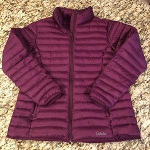 Cabelas goose down puffer jacket, XL, purple